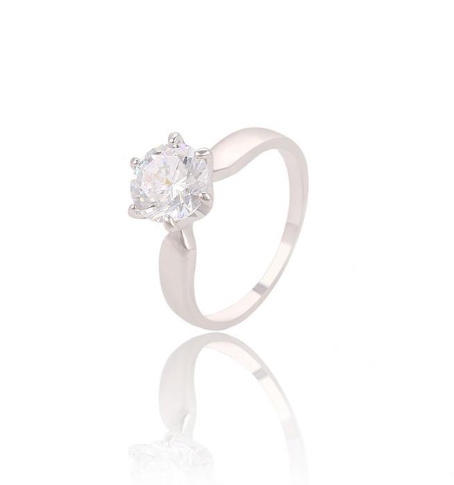 Классическое кольцо с круглым фианитом