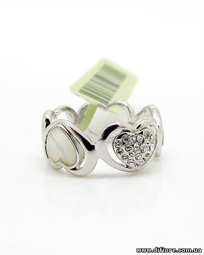 Кольцо Сердечки с фианитами и перламутром