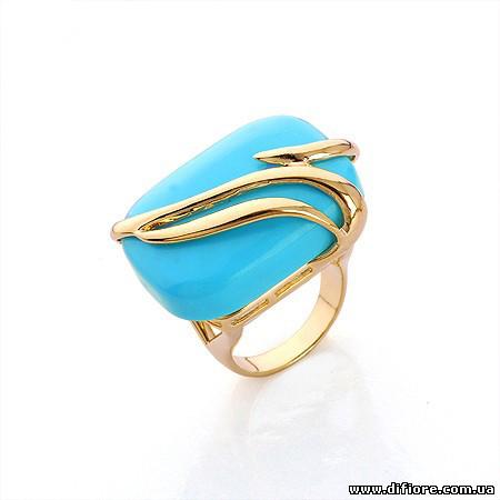 Крупное кольцо с искусственным нефритом
