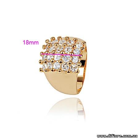Нарядное кольцо с 20 фианитами
