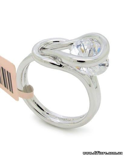 Нежное кольцо родий с круглым фианитом
