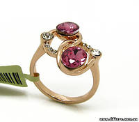 Нежное кольцо с розовыми фианитами