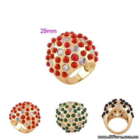 Неординарное кольцо с зеленым искусственным нефритом