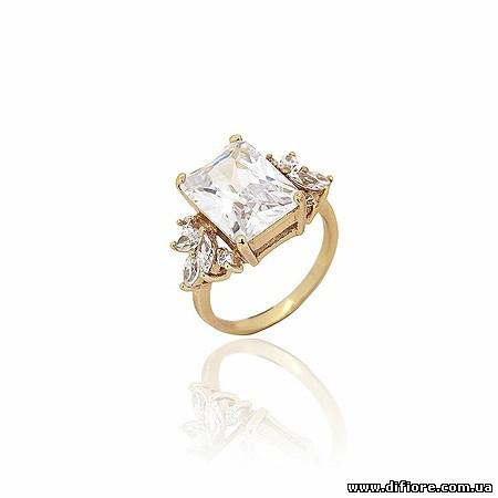 Роскошное кольцо с крупным фианитом огранки багет