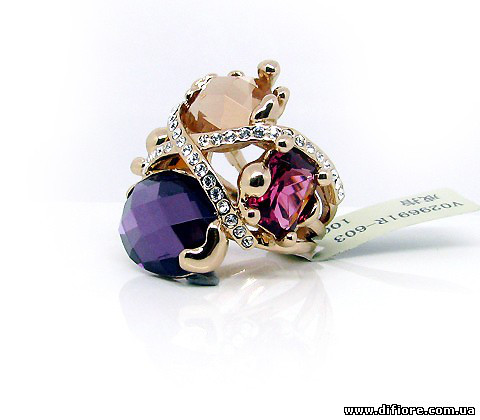 Роскошное кольцо с цветными фианитами