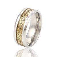 Стальное кольцо с позолотой
