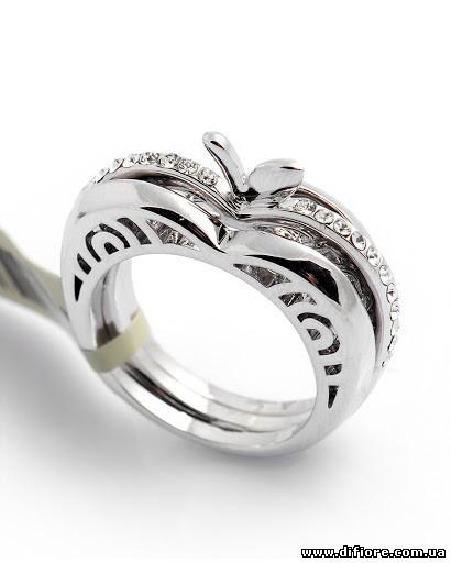 Тройное кольцо Яблоко с узором и фианитами