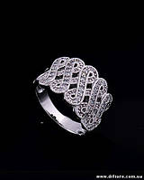 Узорное кольцо с белыми фианитами
