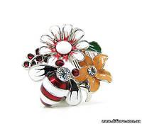 Эмалевое кольцо с цветами и пчелой