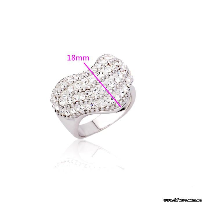 Объемное кольцо с прозрачными фианитами