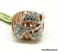 Особенное позолоченное кольцо с фианитами