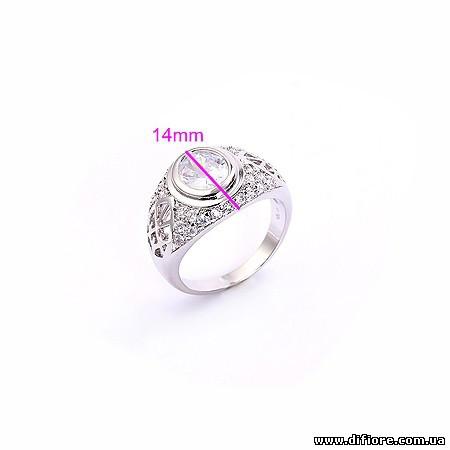Перстень родий с крупным овальным фианитом