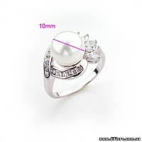 Прелестное кольцо с жемчугом и фианитами