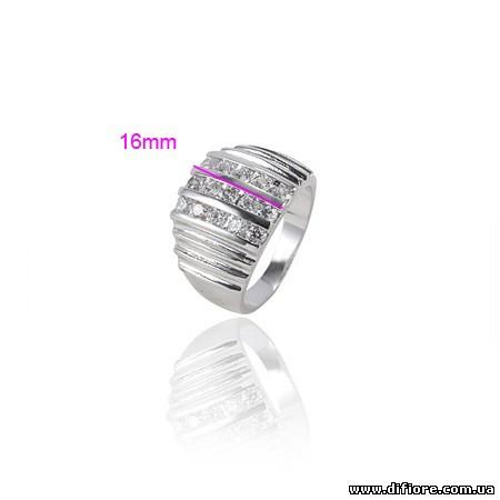 Родированное кольцо с гранями и фианитами