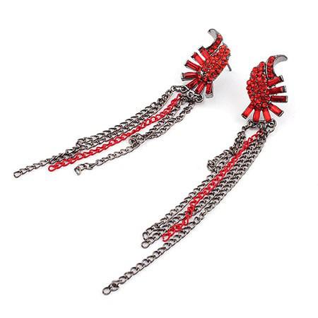 Красные серьги с цепочками