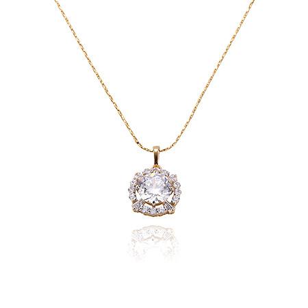 Позолоченный кулон Sofique золото с круглым белым фианитом 30611