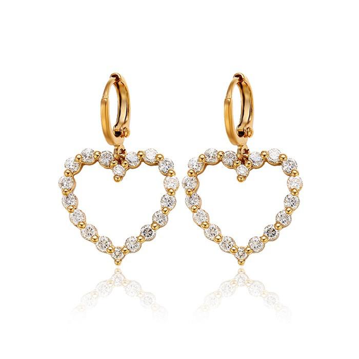 Позолоченные серьги Sofique Сердце с белыми фианитами 28052