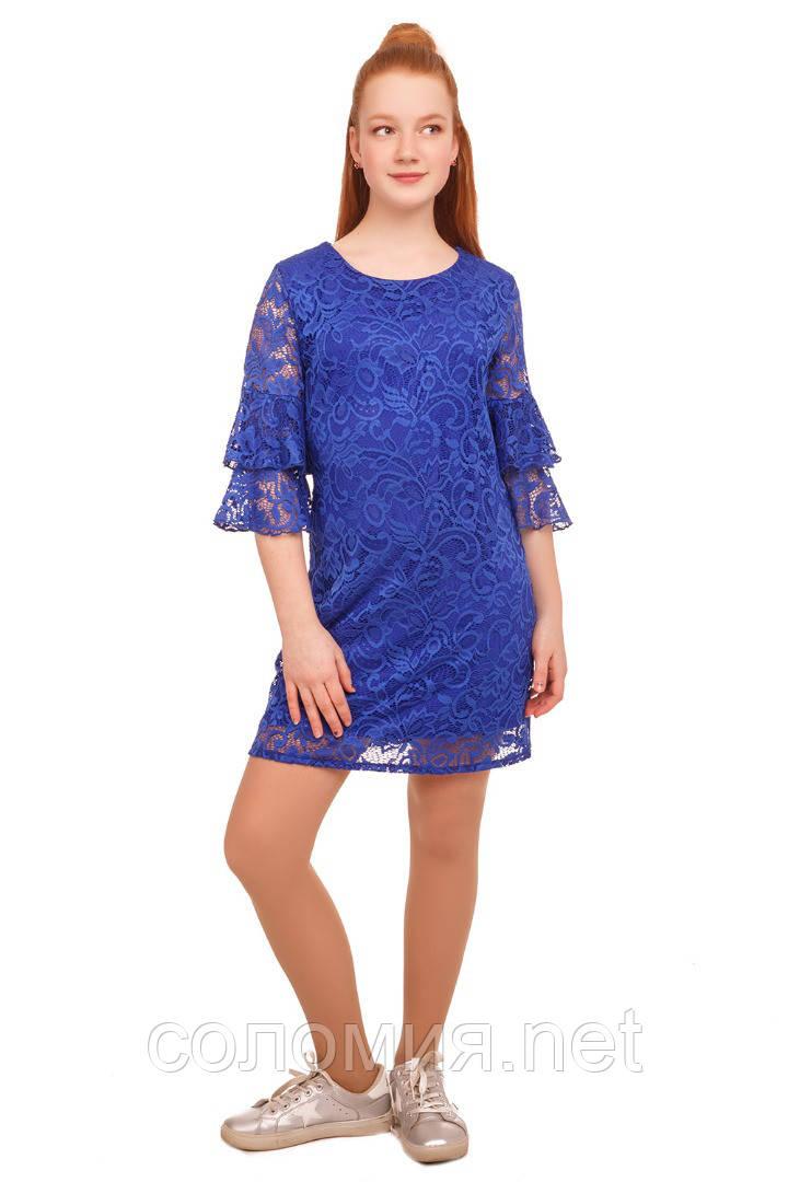 Нарядное платье  из кружевного гипюра для девочки 140-152р