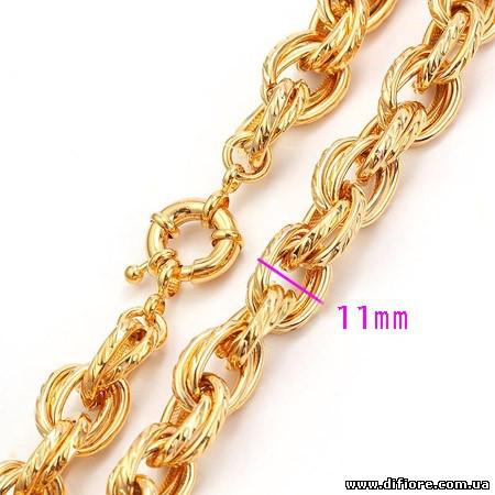 Широкая позолоченная цепочка двойного якорного плетения