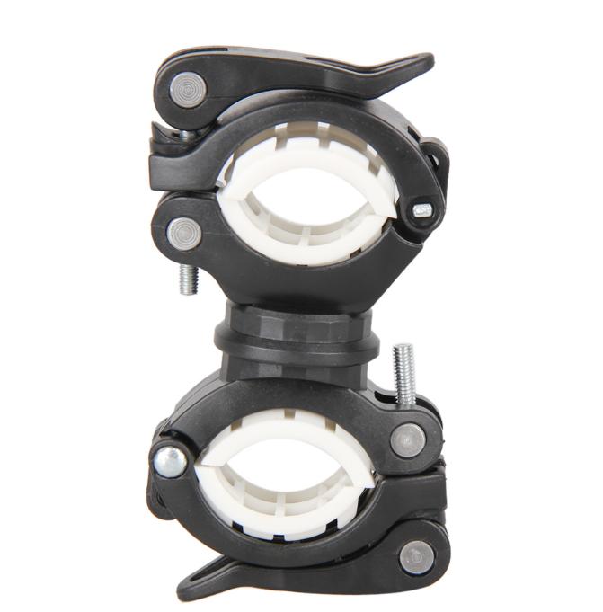 Крепление для велофонаря, алюминиевое на двух зажимах (цвет BLACK)