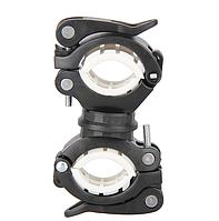 Кріплення для велофонаря, алюмінієве на двох затискачах (колір BLACK), фото 1