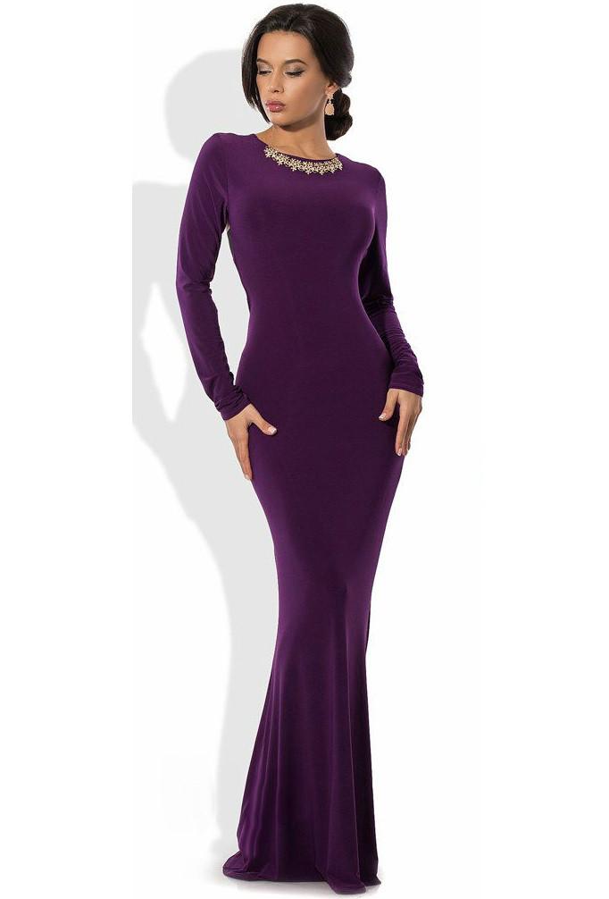 Фіолетове русалка плаття в підлогу з прикрасою