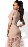 Кремовое платье с юбкой из сетки-флок в горошек, фото 2