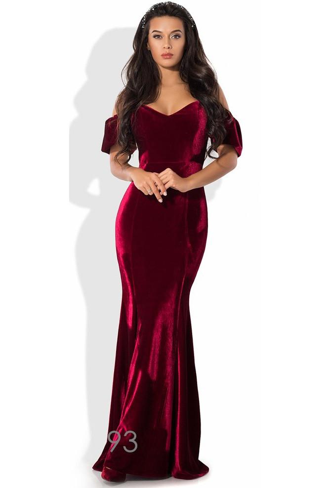 Бордовое вечернее платье из бархата
