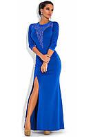 Синее вечернее платье с рукавом три четверти
