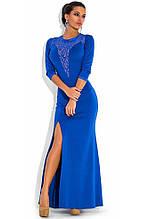 Синє вечірнє плаття з рукавом три чверті