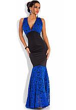 Плаття в підлогу русалка чорне з синім