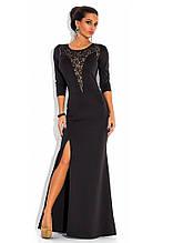 Чорне вечірнє плаття з рукавом три чверті