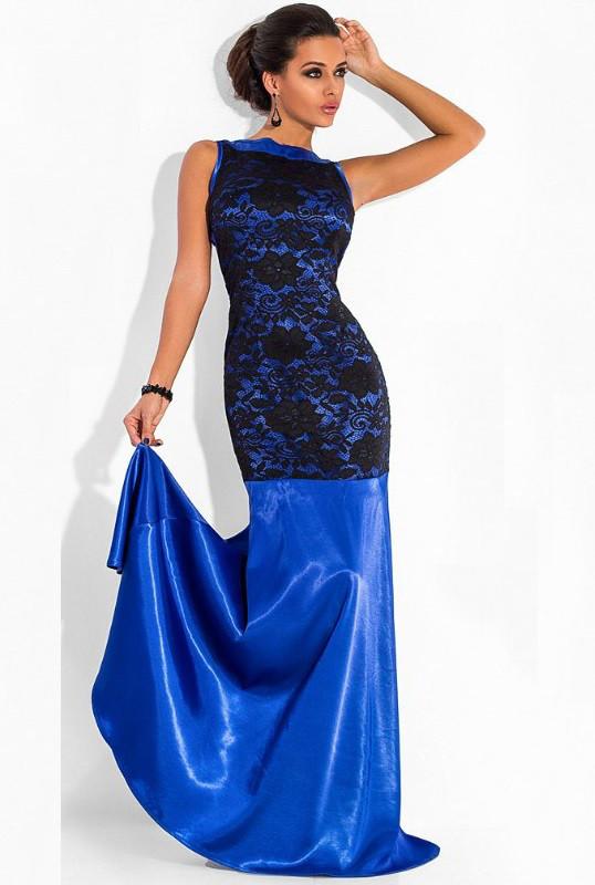 Синее платье в пол из королевского атласа