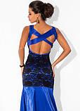 Синее платье в пол из королевского атласа, фото 2