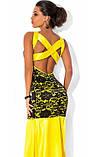 Желтое платье в пол из королевского атласа, фото 2