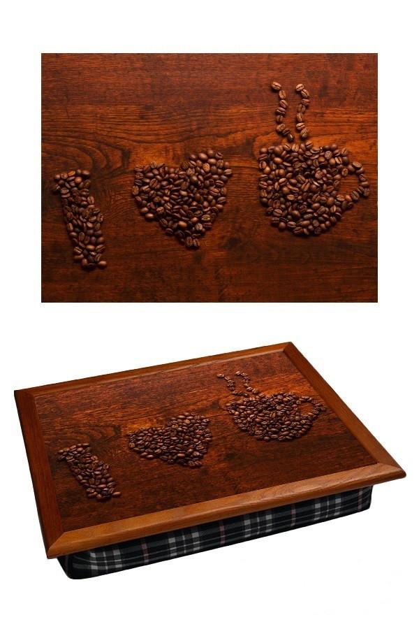 Поднос с подушкой Я Люблю Кофе