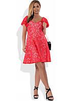 896cc8807e6 Красивое женское платье коралловое из гипюра размеры от XL ПБ-332