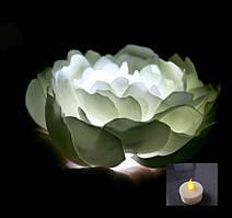 Ночник пион светлячок белый 20 см