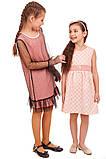 Платье из теплой ткани нежно-розового цвета с имитацией гипюра 116-134р, фото 4