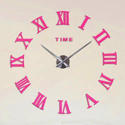 Настенные часы 3D, большие наклейки   Зеркальный эффект Римские цифры, Розовый