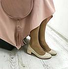 Бежевые туфли на низком каблуке женские Woman's heel лакированные кожаные молочные, фото 7