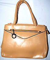 Женская бежевая масляная сумка из искусственной кожи с 1 отделом 31*24 см