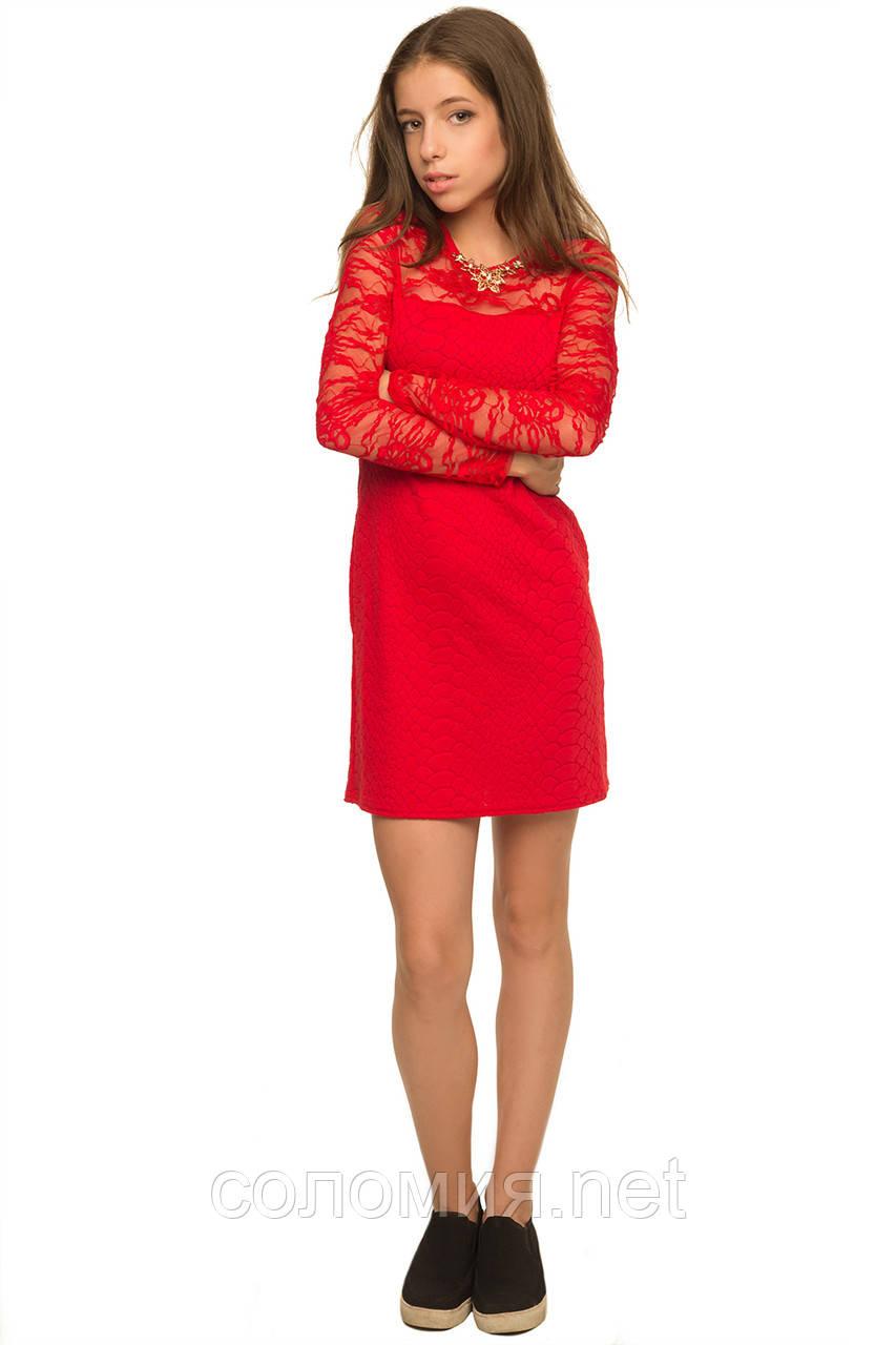 Яркое Нарядное платье из комбинированной ткани двух видов 134-152р