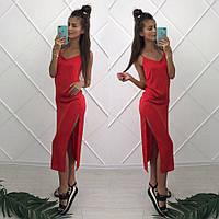 Женское летнее шелковое платье Лолита на брительках, красный