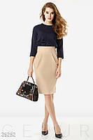 Стильное деловое платье средней длины рукав до локтя полу облегающее двухцветное бежево синий