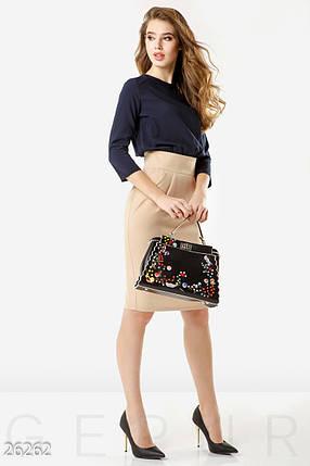 Стильное деловое платье средней длины рукав до локтя полу облегающее двухцветное бежево синий, фото 2