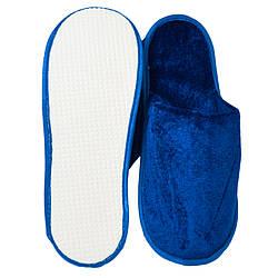 Тапочки для дома и офиса велюровые открытые с антискользящей подошвой (цвет синий)