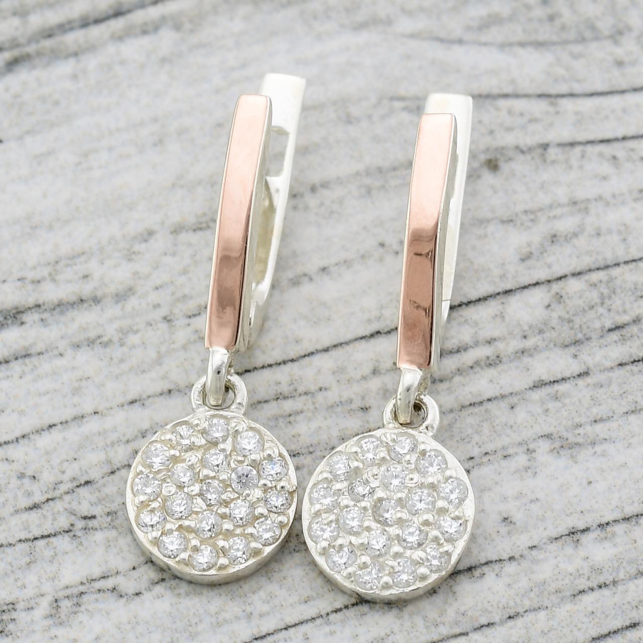"""Серебряные серьги """"Лия"""", размер 26*9 мм, белые фианиты, вес 3.5 г"""