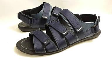 Кожаные мужские сандалии Nike KD-C-5 Черне/Синие, фото 3