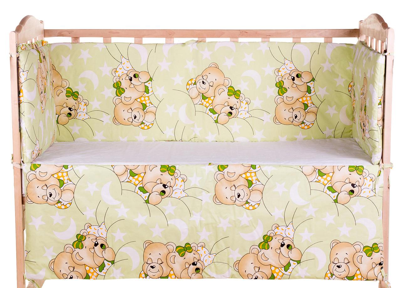 quatro Защита в кроватку Qvatro Gold ZG-02 салатовая (мишки спят) 620993